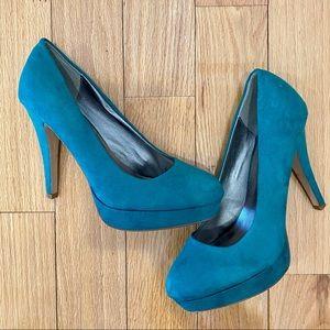 Charlotte Russe Teal Green Suede Platform Heels